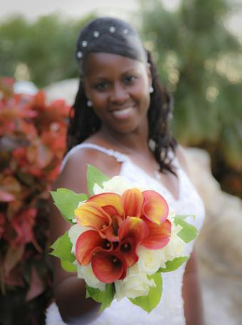 African American bride fall