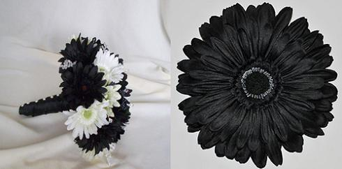 black silk wedding flowers bouquet with daisies